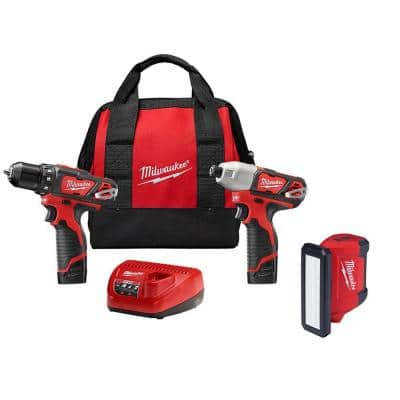 M12 12-Volt Lithium-Ion Cordless Drill Driver/Impact Driver Combo Kit (2-Tool) with 700 Lumens Flood Light