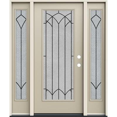 60 in. x 80 in. Left Hand Full Lite Mointclaire Decorative Glass Desert Sand Steel Prehung Front Door w/Sidelites