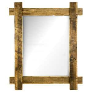 Medium Rectangle Brown Wood Beveled Glass Classic Mirror (33 in. H x .75 in. W)