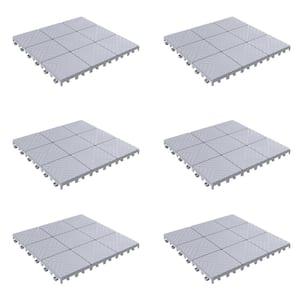 11.5 in. x 11.5 in. Outdoor Interlocking Polypropylene Patio and Deck Tile Flooring in Grey (Set of 6)