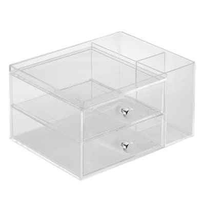 7 in. D x 5 in. H x 9 in. W Clear Plastic Cube Storage Bin