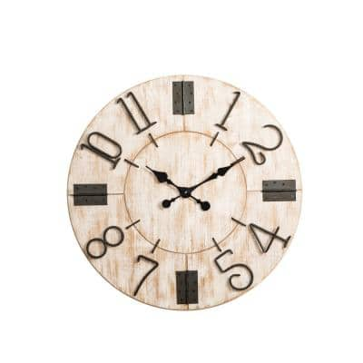 31.70 in. W Oversized Farmhouse White Wooden Wall Clock