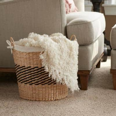 Woven Decorative Basket with Handles and Cotton Liner