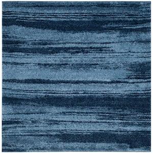 Retro Light Blue/Blue 6 ft. x 6 ft. Square Area Rug