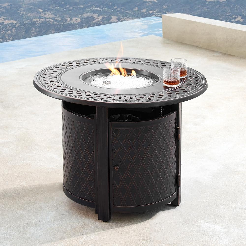 Oakland Living 34 In Round Aluminum Outdoor Propane Fire Table With Fire Beads Lid And Covers In Copper Finish Hdritz Fpt Ac The Home Depot