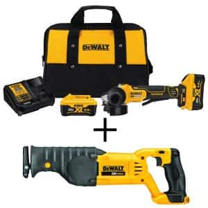 20-Volt MAX XR Cordless Brushless 4-1/2 in. Small Angle Grinder, (2) 20-Volt 6.0Ah Batteries & Reciprocating Saw
