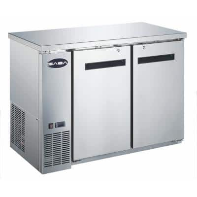 48 in. W 11.8 cu. ft. Commercial Solid Door Under Back Bar Cooler Refrigerator in Stainless Steel