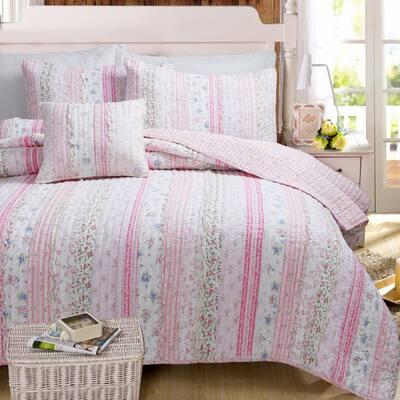 Pink Rose Peonies Flower Garden Lace Ruffle Stripe Shabby Chic 3-Piece Pink Cotton Queen Quilt Bedding Set