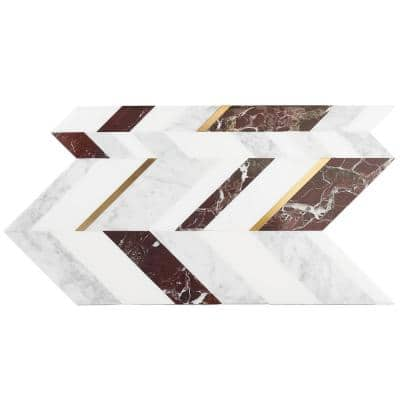 Tyra Bordeaux 11.81 in. x 18.89 in. Polished Marble Wall Mosaic Tile (1.55 sq. ft./Each)