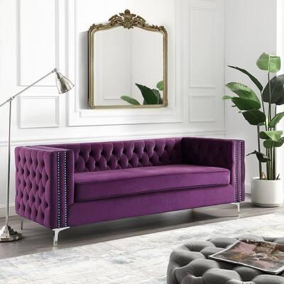 Olivia 34.5 in. Purple Velvet 3-Seater Tuxedo Sofa with Nailheads