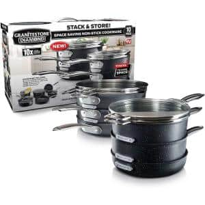 10-Piece Aluminum StackMaster Non-Stick Diamond Infused Cookware Set with Glass Lids