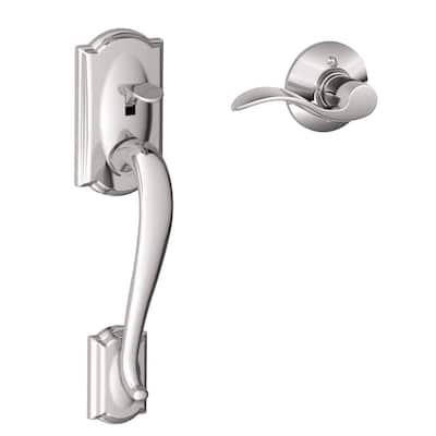 Camelot Satin Nickel Entry Door Handle with Right Handed Accent Door Lever