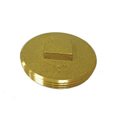 3 in. Brass Raised Head Southern Code Cleanout Plug 3-3/8 in. O.D. for DWV