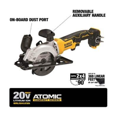 ATOMIC 20-Volt MAX Cordless Brushless 4-1/2 in. Circular Saw with (1) 20-Volt Battery 3.0Ah & Charger