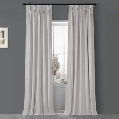 Porcelain White Velvet Pinch Pleat Blackout Curtain - 25 in. W x 108 in. L