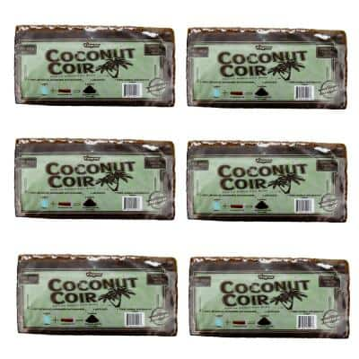 1.4 lbs./650g Premium Coco Coir, Soilless Grow Media, Coconut Coir Brick (6-Pack)