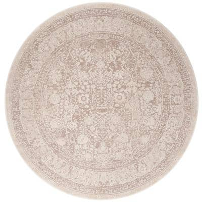 Reflection Beige/Cream 5 ft. x 5 ft. Round Distressed Border Area Rug