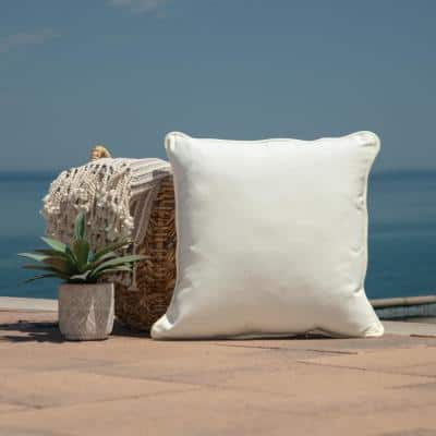 Oasis 20 in. Cloud White Square Indoor/Outdoor Throw Pillow