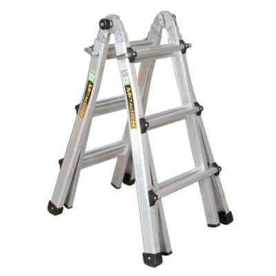 14 ft. Reach Aluminum Telescoping Multi-Position 5-in-1 Indoor/Outdoor Ladder for Extensions, 300 lbs. Load Capacity