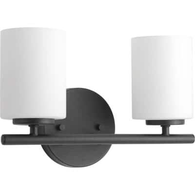 Replay Collection 2-Light Textured Black Etched Glass Modern Bath Vanity Light