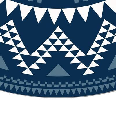 Decorative Blue Round Laminated Kitchen Mat 39 in