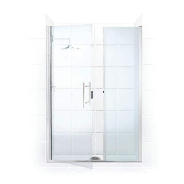 Coastal Shower Doors Illusion 44 In To 45 25 In X 75 In Semi Frameless Shower Door With Inline Panel In Chrome And Clear Glass Hl44il 75b C The Home Depot