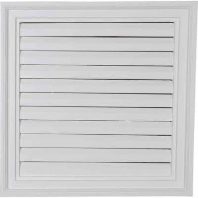 24 in. x 24 in. Square Primed PolyUrethane Paintable Gable Louver Vent Functional