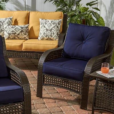 Sunbrella Navy 2-Piece Deep Seating Outdoor Lounge Chair Cushion Set