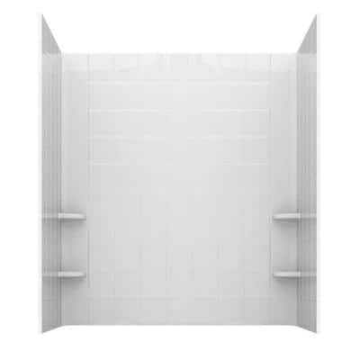 Rampart 60 in. x 60 in. 4-Piece Easy Up Adhesive Alcove Tub Surround with 6 in. Square Tiling in White
