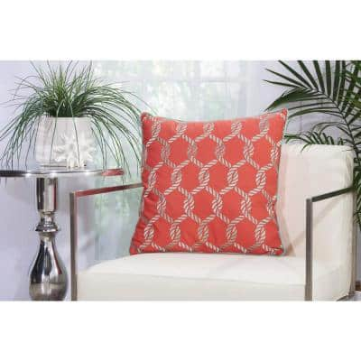 Woven Ropes Coral and Aqua Graphic Stain Resistant Indoor/Outdoor 20 in. x 20 in. Throw Pillow