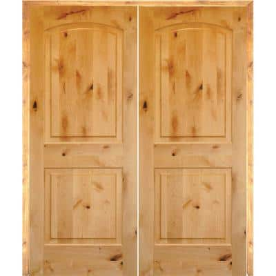 48 in. x 80 in. Rustic Knotty Alder 2-Panel Arch Top Both Active Solid Core Wood Double Prehung Interior French Door