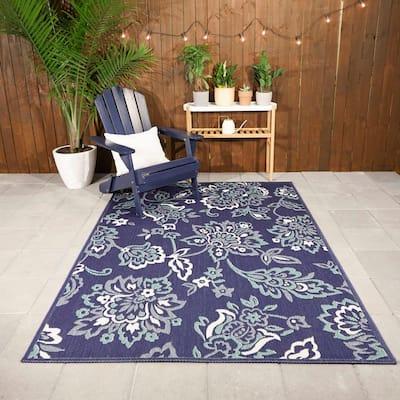 Floral Garden Navy 9 ft. x 12 ft. Indoor/Outdoor Area Rug