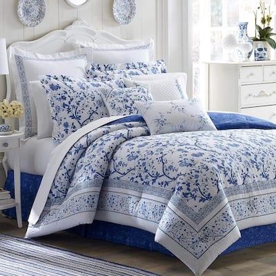 Charlotte 2-Piece Blue Floral Cotton Twin Duvet Cover Set