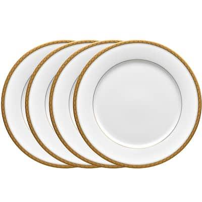 Charlotta Gold/White Porcelain Dinner Plates (Set of 4) 10-1/2 in.