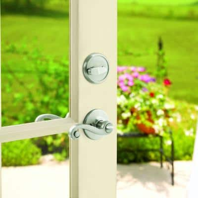 Lido Satin Nickel Exterior Entry Door Lever and Single Cylinder Deadbolt Combo Pack Featuring SmartKey Security