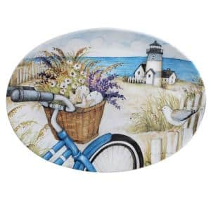 16 in. By the Sea Oval Multicolored Platter