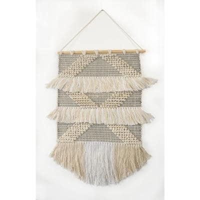 Fringed Diamond Ivory / Natural Tufted Wall Tapestry