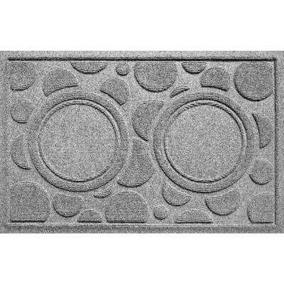 Dog Bowl Dots 18 in. x 27 in. Medium Gray PET Polyester Pet Mat
