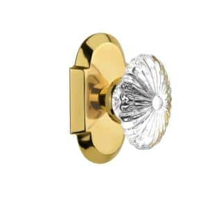 Nostalgic Warehouse Cottage Plate 2 3 4 In Backset Polished Brass Privacy Bed Bath Oval Clear Crystal Glass Door Knob 714653 The Home Depot