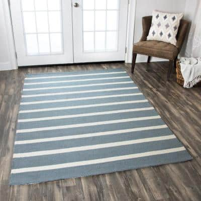 Azzura Hill Gray Striped 8 ft. x 8 ft. Round Outdoor Area Rug