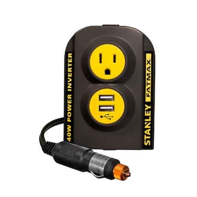 140-Watt Portable Car Power Inverter: 12-Volt DC to 120-Volt AC Power Outlet with Dual USB Ports
