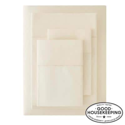 500 Thread Count Egyptian Cotton Sateen 4-Piece Queen Sheet Set in Ivory