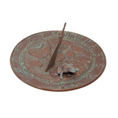 Copper Verdigris Frog Sundial