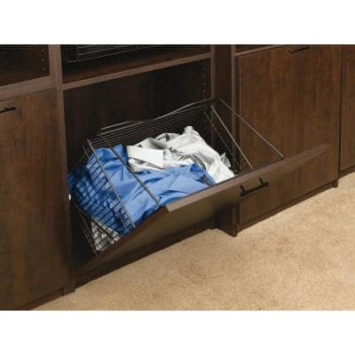 21 in. x 19.75 in. Oil Rubbed Bronze Pull-Out Hamper Basket