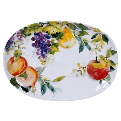 Ambrosia Oval 17 in. Multicolored Platter