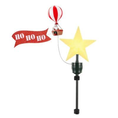 Santa in Balloon Animated Tree Topper with Banner