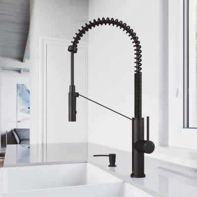 Livingston Single-Handle Pull-Down Sprayer Kitchen Faucet with Soap Dispenser in Matte Black