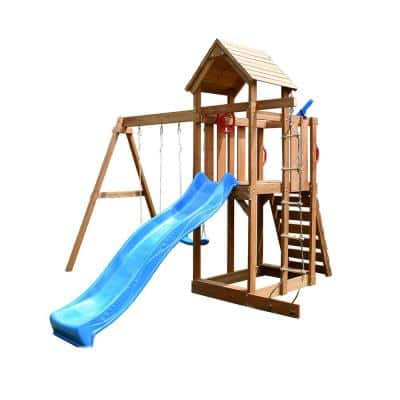 Playhouse with Wooden Swing Set, Covered Canopy, Slide, Climbing Wall and Steering Wheel