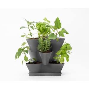 Collins Medium 16 in. 3-Tier Charcoal Gray Modular Multi-Level Vertical Herb Planter