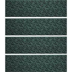 Dogwood Leaf 8.5 in. x 30 in. Stair Treads (Set of 4) Evergreen